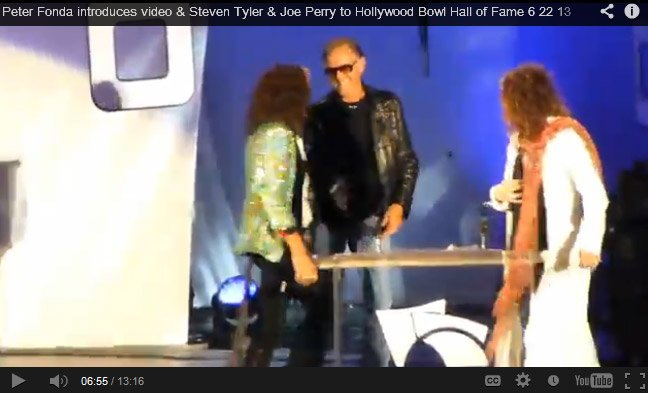Peter Fonda introduces Steven Tyler & Joe Perry to Hollywood Bowl Hall of Fame