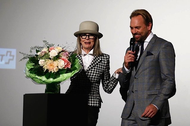 Diane Keaton being presented her award at the Zurich Film Festival!